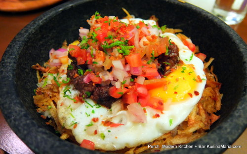 Truffsilog by Perch Modern Kitchen + Bar, Tapa with Truffles, Fried Egg, Garlic Rice, and Tomato & Onion Salsa