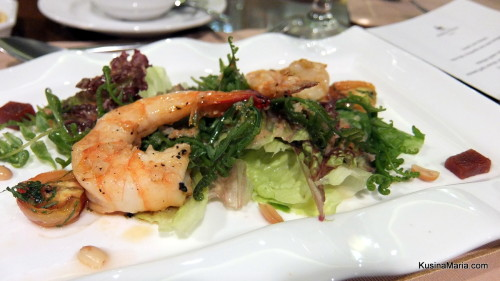 Malagos Green and Fern Salad with Sauteed Garlic Shrimps, Guava Jelly, Roasted Peanuts and  Davao Suka Emulsion by Chef Alex Destriza of Marco Polo Davao