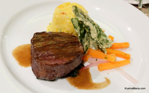 Sous Vide Beef Tenderloin with Bistek Sauce with Chorizo Pumpkin Risotto, Kangkong 2 Ways, and Glazed Carrots and Onions by Chef Alex Destriza of Marco Polo Davao