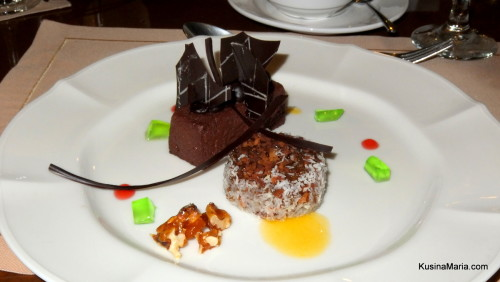 Biko Pandan with Chocolate Mousse and Caramelized Pecans by Chef Alex Destriza of Marco Polo Davao